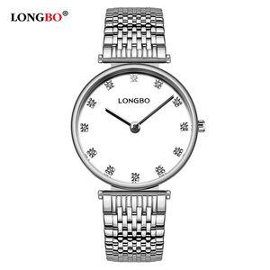 2020 regalos Pareja LONGBO marca de moda de los amantes de los relojes impermeable del acero inoxidable hombres de las mujeres del reloj del cuarzo Reloj Reloj clásico 5095