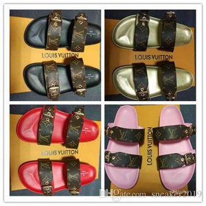 KUTU ILE Markalı Kadınlar Baskı Mektup Patent Tuval Kyoto Yaz Slayt Sandal Moda Kız Deri Taban Düz Terlik