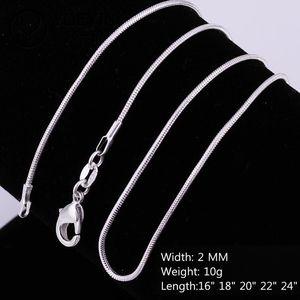 Collane per catene in corda di serpente liscio 2MM in argento sterling 925 all'ingrosso a buon mercato Per donna Uomo Gioielli di moda in dimensioni all'ingrosso 16-24 pollici