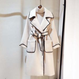 LANMREM 2019 осень и зима Новый Повседневная мода Женщины куртка Сыпучие Plus Solid Color Волнистые Side С Wool Coat TC588 SH190928