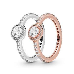 925 Sterling Silver Classic Elegance Sparkle Halo Ring Luxury Designer Jewelry Women CZ Diamond Engagement Rings with Pandora Original Box