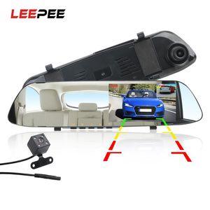 LEEPEE Car DVR Traço Camera traço Cam 4.3 '' Car DVR Espelho duplo Len HD 1080P Rear View Camera Retrovisor Dashcam Auto Video Recorder