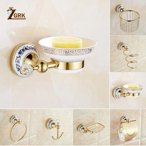 ZGRK Bathroom Wall Mount All Copper Chrome Design Paper Roll Holder Toilet Gold Paper Holder Tissue Box Bathroom Accessories T200425