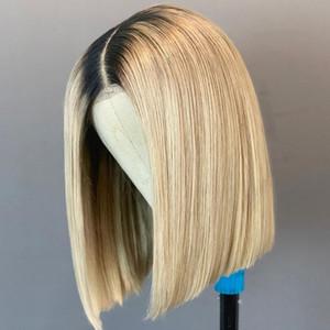 BOB Lace Front Perruques Full Lace Wigs 1b / 613 Blonde Couleur Droite Milieu Partie Pré Préplumée Hairline Naturel pour Cheveux De Bébé