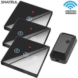 SMATRUL 스마트 홈 무선 터치 스위치 빛 433MHZ RF 원격 제어 릴레이 유리 화면 1 2 3 갱 벽 패널 버튼 LED 램프 T200605