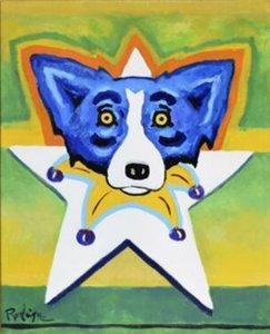 George Rodrigue Estrella Perro azul Firmado ilustraciones Decoración Artesanías / impresión de HD pintura al óleo sobre lienzo arte de la pared de la lona representa 200111