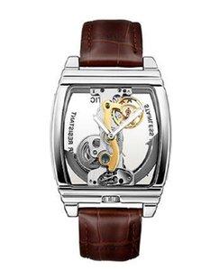 Yeni Relojes transparentes para adam, reloj de pulsera mecánico automático, correa de cuero, reloj Steampunk de marca üstün, reloj