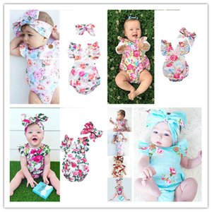 INS Newborn Toddler Baby Girls Floral Romper Bodysuits Hairwrap Head Bands Summer Sleeveless Jump Suit Climbing One-piece Clothes Sets D3304