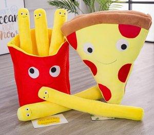 2 modèles 30CM New Cartoon Simulation Frites Pizza Pillow peluche Creative Software Fries français Snack cadeau en peluche Jouets enfants cadeau
