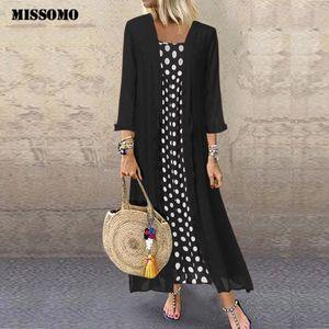 MISSOMO Plus Size 5XL Dress Women Vintage Boho O-Neck Dot Print Lace Two-piece long maxi dress women clothes girls vestidos 710 MX200518