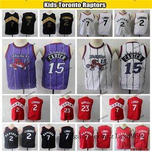 Çocuklar Toronto RaptorsGençlik İl Kyle Lowry 23 Basketbol Jersey Vintage Vince Carter Kazanılannba 15 Dikişli Boys Formalar
