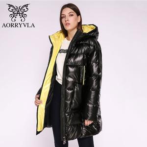 AORRYVLA 2019 Kış Kadın Moda Ceket Uzun Down Kadınlar Ceket Kalın Sıcak Kapşonlu Coat Kadın Parka Kış Casual