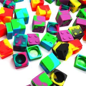 Contenitore in silicone di colore assortito da 9ml mini Cube per Dabs Contenitore in silicone di forma rotonda Dabs Contenitore in silicone Dab per DHL