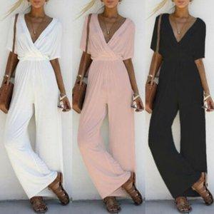 여성 패션 보그 우아한 여름 Jumpsuits 3 스타일 짧은 소매 V 목 탄성 허리 솔리드 스트레이트 느슨한 옷