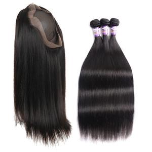 9A 360 Lace Frontal Schliessen mit Bundles Pre Zupforchester mit Baby-Haar-brasilianische Menschenhaar-Webart Glattes Haar 3 Bündel mit 360 Lace Fronta