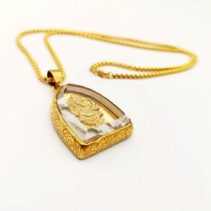 2019 aço AW New Gold cor inoxidável Ganesha colar de pingente de vidro Tampa riqueza sabedoria amuleto Ganesha elefante Deus colar