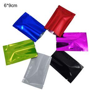 6 * 9см 200pcs / серия Красочные Flat Open Top Алюминиевая фольга Упаковка мешки Вакуумные мешки для хранения продуктов тепло Герметизация Глянцевая майлар мешок упаковки