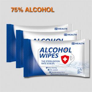 75% lingettes alcool 10 feuilles / sac lingettes antibactériennes Désinfectant portable Antiseptique lingettes humides