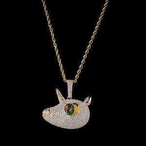 Fashion Hip Hop Micro Pave Colorful Full Iced Out Lovely Cartoon Unicorn Pendant Necklace Present for Rappers with Jewelry Box