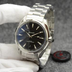 Новый стиль черный циферблат Master Aqua Terra 150M Мужские 42мм автоматические механические Коаксиальная Нержавеющая сталь Стекло Назад Спорт Sea Мужские часы