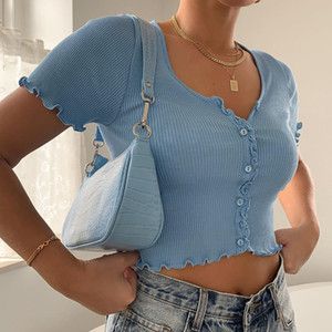 New Stretchy Ruffle Sleeve Crop Top Women 2020 Summer Button Green Blue Tight Rib-knitted Plain Sexy T-shirt Dropshipping