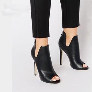 New Europe Women Super High Heels Boots Super High Thin Heel Peep Toe Summer Boots Nero stivaletti in pelle stivaletti scarpe