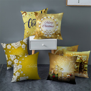 Golden Christmas Weihnachtsdekorationen Kissenbezug Digital Printing Dekokissen Fall Platz Sofa Kissenüberzüge Heim-Party Pillowcase INS