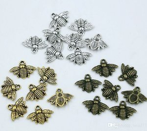 MIC 150pcs Antique silver   Gold   Bronze Zinc Alloy Lovely Bee Charms Pendants 16x20mm DIY Jewelry Fit Bracelets Necklace Earrings