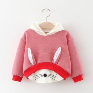 Autumn Thicken Baby Girl Clothes Striped Cartoon Rabbit Hoodies Sweatshirts Cotton Long Sleeves Sportswear Baby Boy Clothes