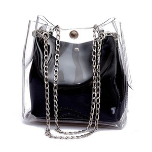 Women Small Bucket Bags Plastic Transparent Totes Composite Chain Bag Female Mini Jelly Handbags