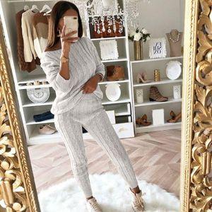 Womens Ladies Sólidos Alças cabo malha Aqueça 2PC Loungewear Suit Conjunto Outono camisola mulheres 2018 camisola xadrez do inverno da mulher