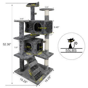 """52"""" Taraklı Mesajlar Merdivenler ile Kedi Ağacı Etkinlik Kule Hayvan Kitty Mobilya"""