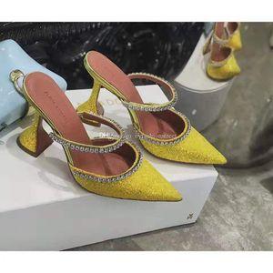 Perfetto ufficiali di qualità Amina Muaddi donne 95mm sexy Gilda ha abbellito il glitter Mules Amina Muaddi cristallo High Heel Shoes Sandali
