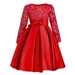 Christmasgirls 드레스 여자 어린이 공주님 드레스 Y19061501 긴 소매 버드 실크 Bowknot 옷 웨딩 파티 드레스