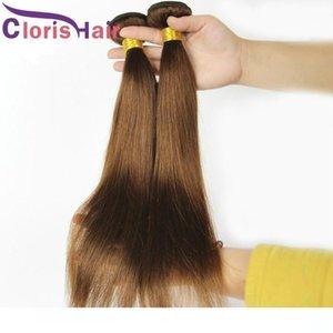 Una colorata # 4 capelli lisci tessuto malese vergine dei capelli 3 Bundle Offerte Pure Marrone estensioni dei capelli umani poco costoso Brown doppia trama Ve