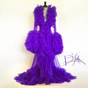 Imperial Üzüm Ruffled Naylon şifon sabahlık Ruffled Etek Yaka Uzun Kollu kadın gecelik Seksi Elbiseler