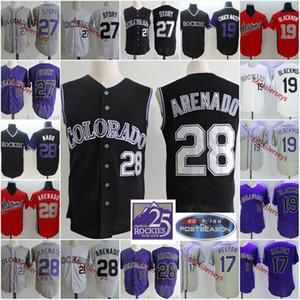 Mens # 28 Nolan Arenado Black Vest Jerseys 스티치 19 Charlie Blackmon 17 Todd Helton 27 Trevor Story Jersey
