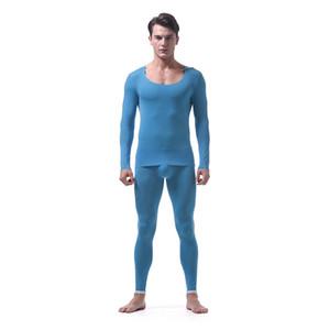 Mens long johns définit parajas vêtements hommes Comfortable Slim fit Warm Ice Silk Sleepwear sous-vêtements Sous-chemise + Pantalon