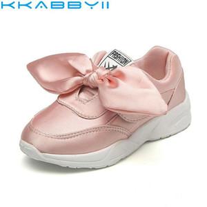 Kkabbyii Fashion Bow Girls Shoes 플랫 달리기 스포츠 Kids 캐주얼 브랜드 고품질 어린이 운동화 사이즈 26-30