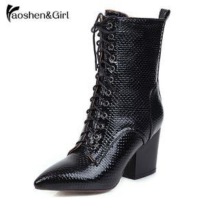 HaoshenGirl 2020 serpent PU cuir bout pointu Automne Hiver Femmes Chaussures Talon haut place à lacets Zipper cheville Taille 34-43