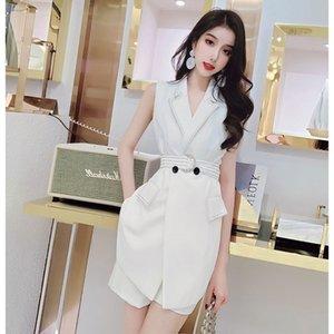 Два куска платья высокого качества взлетно-посадочная полоса воротник без рукавов ютные нерегулярные работы женщин V-образным вырезом жилет короткие шорты двухсектурные брюки