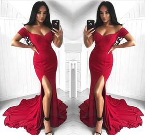 2019 Sexy Side Split Mermaid Pal Robes De Soirée Robe Soirée Rouge Satin Satin Satin Satin Longueur De Soirée Robes Longues Robes Longues