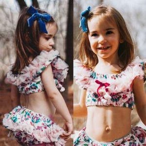 2018 Baby Girl New Style Floral Lace Alças Cortar Tops Curto Pant Breve PP inferior Verão Crianças Roupa 2pcs Outfits