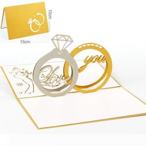 B du lot Diamond Ring design exquis 3d pop le jour de la Saint-Valentin Carte Up GreetingGift Cartes Laser Cut Invitations de mariage