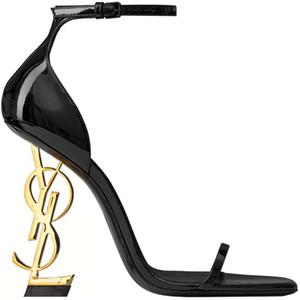 2020 Desinger Black Patent Leather Grey Heel Fashion Bridal Wedding Shoes Modest Eden High Heel Women Evening Party Shoes 10cm
