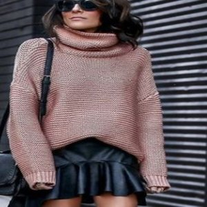 Women Autumn Winter Long Sleeve Turtle Neck Casual Knitted Pullover Sweater Top Ladies warm winter high neck knitwear