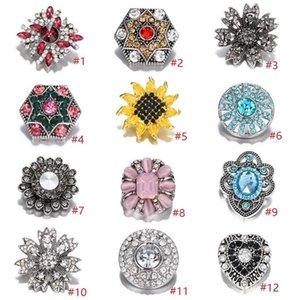 NOOSA Ginger Snap Jewelry Rhinestone Flower Heart Chunks Geometric 18MM Snap Buttons DIY Snap Bracelet Necklace Jewelry Gift