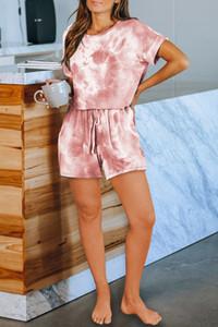 DHL para pijamas Tiedye para las mujeres Pigiama Da Donna Per Girocollo teñido anudado púrpura corto mujer ligero Tie Dye camisas Volt nueva garden2010