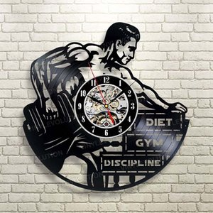 Culturismo Hombre del gimnasio del deporte del reloj de pared de vinilo Decoración hecha a mano del arte de la personalidad de regalo (Tamaño: 12 pulgadas, Color: Negro)