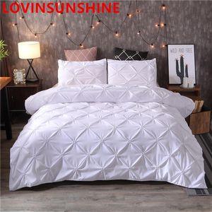 Couvercle de couette noire de luxe américaine Pinch Plat Bref Literie Ensemble Queen King Size taille 3pcs Linge de lit de lit de lit de couette de couette avec des ensembles de lit oreiller